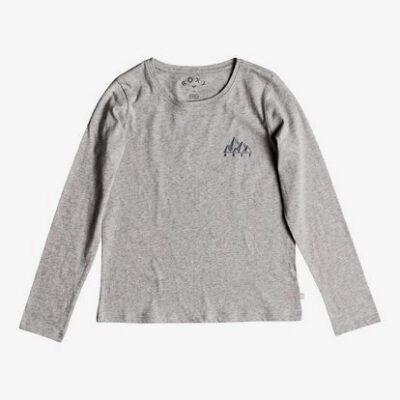Camiseta ROXY niña manga larga gradual awakening (sgrh) Ref. ERGZT03327 gris claro letras pecho y espalda