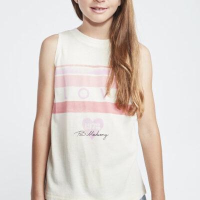 Camiseta BILLABONG niña tirantes Ref. S8TT03 BIF0 Color beige con rayas y corazon rosa