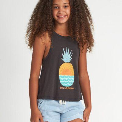 Camiseta BILLABONG niña tirantes Ref. S8TT02 BIF0 Color gris oscuro con dibujo grande de piña
