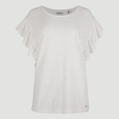Camisa top O'NEILL mangas cortas volantes para mujer FLUTTER T-SHIRT Powder white Ref. 1A7338 blanca volantes