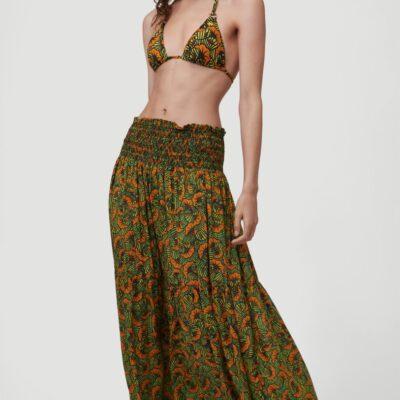 Falda larga O'NEILL casual cintura fruncida para mujer CITIZEN WOVEN LONG SKIRT Yellow/Green Ref. 1A7806 amarilla/verde estampada