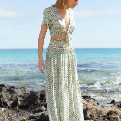 Falda larga O'NEILL casual cintura fruncida para mujer CITIZEN WOVEN LONG SKIRT Green Ref. 1A7806 verde estampada