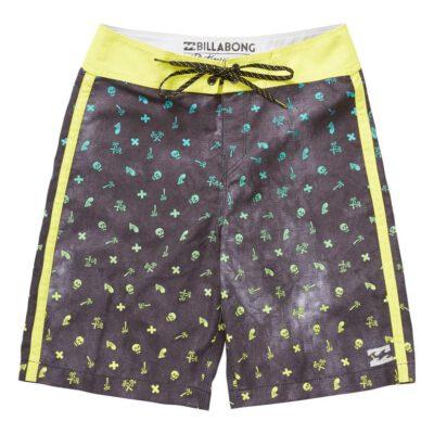 Bañador BILLABONG surfero niño Short elástico Boys Peakys Billy OG 15 Ref. C2BS03 negro/amarillo palmeras
