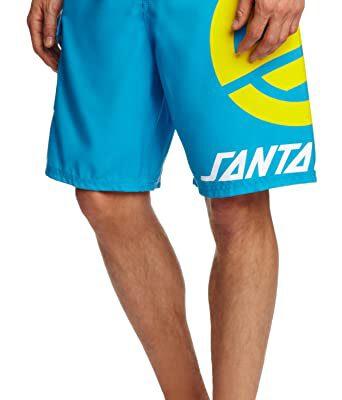 Bañador SANTA CRUZ surfero Hombre Short elástico Stripknot Boardie Bluewater Ref. BSST azul logo amarillo pierna