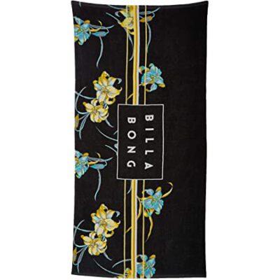 Toalla BILLABONG playa/piscina estampada terciopelo suave Die Cut Towel black Ref. N5TO02 negra flores tropical