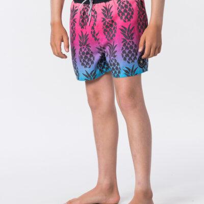 Bañador RIP CURL surfero niño Short elástico Funny Volley Boy Pink Ref. KBOGB4 rosa piña tropical