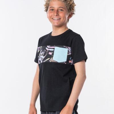Camiseta RIP CURL manga corta niño surfera Block Pocket Short Sleeve Boy Black Ref. KTEQT4 negra bolsillo pecho