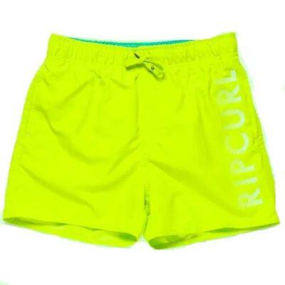 Bañador RIP CURL surfero niño Short elástico Basic Volley Boy Pink lime Ref. KBODC4 verde lima logo pierna