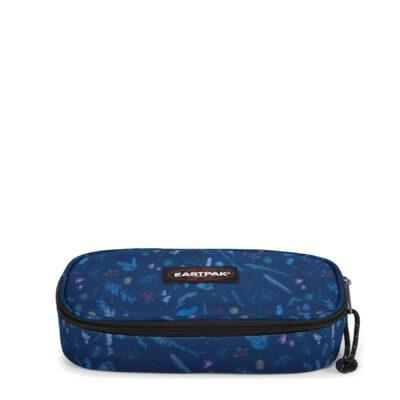 Estuche escolar Eastpak: PLUMIER OVAL EK717K45 Herbs Navy fondo azul con flores minis multicolor