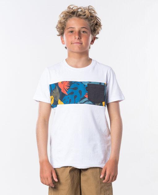 Camiseta RIP CURL manga corta niño surfera Block Pocket Short Sleeve Boy Optical White Ref. KTEQT4 blanca bolsillo pecho