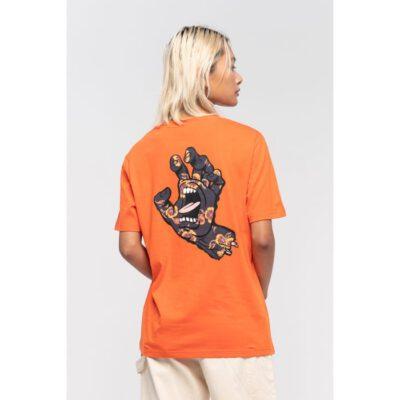 Camiseta SANTA CRUZ manga corta Poppy Hand T-Shirt Burnt Red Ref. SCA-WTE-1121 naranja puño espalda