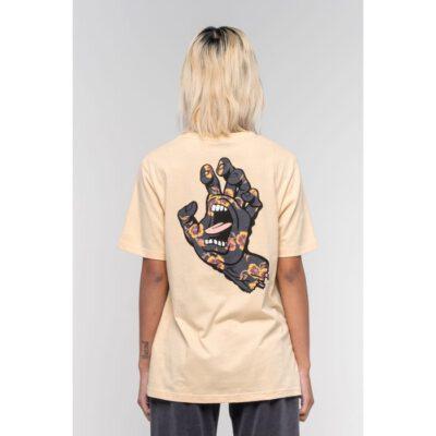 Camiseta SANTA CRUZ manga corta Poppy Hand T-Shirt Sand Ref. SCA-WTE-1124 arena puño espalda