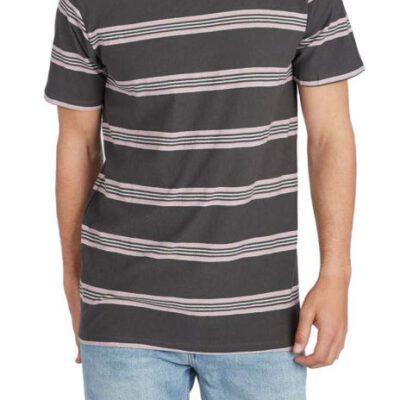 Camiseta BILLABONG surfera manga corta hombre Die Cut Stripe crew Raven Ref. L1JE03 gris/rosa palo rayas