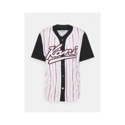 Camiseta beisbolera KARL KANI manga corta unisex VARSITY BLOCK PINSTRIPE BASEBALL White Ref. KKMQ12171WHT Blanca rayas