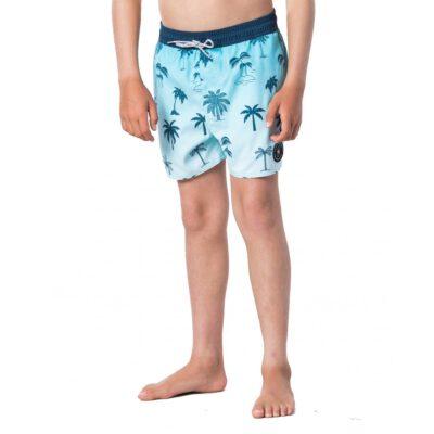 Bañador RIP CURL surfero niño Short elástico Funny Volley Boy Teal Ref. KBOGB4 Azul palmeras