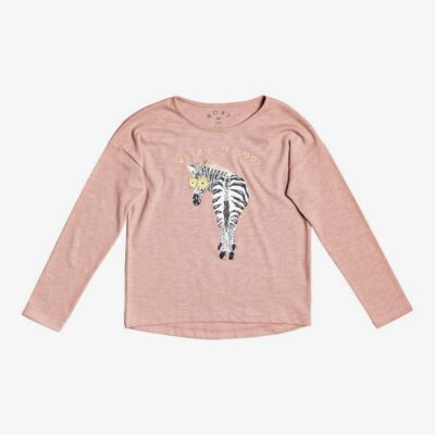Camiseta ROXY niña manga larga Only Time (mkmo) Ref. ERGZT03685 rosa dibujo en pecho