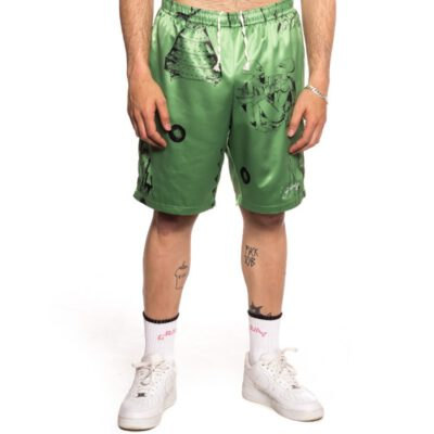 "Pantalón corto GRIMEY UNISEX ""Hope Unseen Vimana"" - Khaki Ref. GPSS149-SS21-Q2 estampado verde"