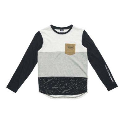 Camiseta manga larga niño Quiksilver PIMPOYE Black Ref. KTEJZ4 beig/negra bolsillo pecho