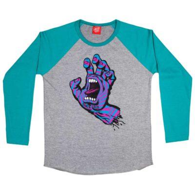 Camiseta SANTA CRUZ manga larga niño Youth Party Hand Baseball baltic blue/Dark heather Ref. SCA-YTL-0138 Gris/azul puño pecho