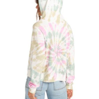 Sudadera BILLABONG con capucha para Mujer Surfline Hoodie SALT CRYSTAL Ref. W3FL04 Blanca tie-dye