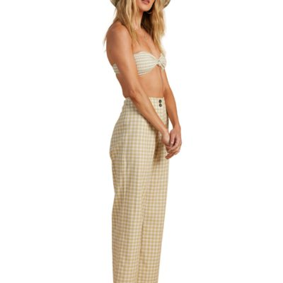 Pantalón BILLABONG con pierna amplia para Mujer Break Point - Cropped Trousers for Women Ref. W3PT09BIP1 Cuadros blancos/beig