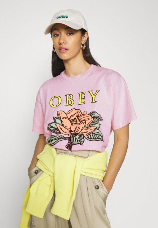 Camiseta manga corta OBEY chica Lotus flower Pink Ref. 9056800 rosa palo flores pecho