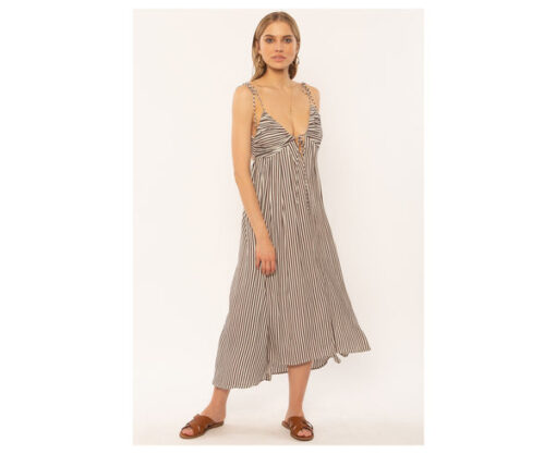 Vestido AMUSE SOCIETY largo tirantes para mujer Fern woven dress-Tam Ref. AD060FER rayas caldera