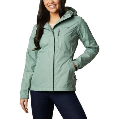 Chaqueta chubasquero COLUMBIA con capucha y aislamiento para Mujer Pouring Adventure II Ref. 1760071305 verde agua