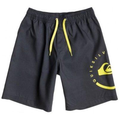 Bañador niño QUIKSILVER Short elástico ECLIPSE VL Grey (bmj6) Ref. AQBJV03011 gris/amarillo logo pierna