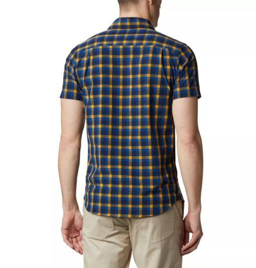 Camisa COLUMBIA manga corta para hombre Triple Canyon™ Azul Mini Tonal Plaid Ref. 1883304437 azul/amarilla cuadros