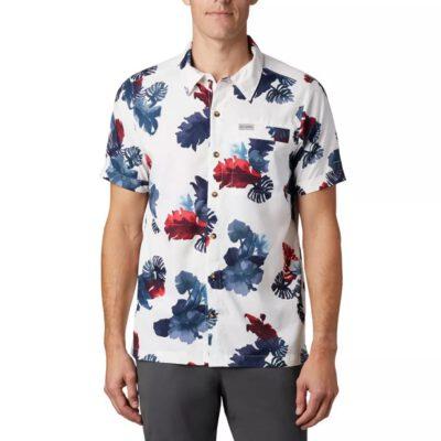 Camisa COLUMBIA manga corta para hombre Outdoor Elements™ White Tropical Ref. 1884891100 blanca flores tropical