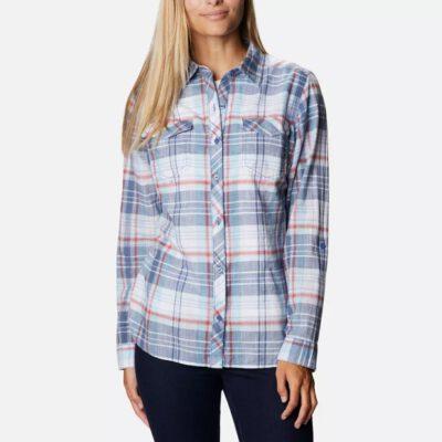 Camisa COLUMBIA de manga larga para mujer Camp Henry™ II Faded Sky Plaid Ref. 1885535467 Cuadros azules