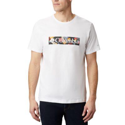 Camiseta COLUMBIA manga corta hombre Rapid Ridge™ White, Wildfire Framed Floral Ref. 1888813100 blanca logo flores