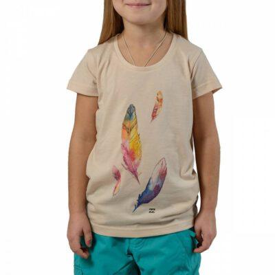Camiseta BILLABONG niña manga Corta Sound almond Ref. Z8SS01 beig plumas colores