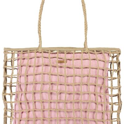 Bolso BARTS de mano de paja para mujer LYRIA SHOPPER light Pink Ref. 6327 Yute natural bolsa interior rosa