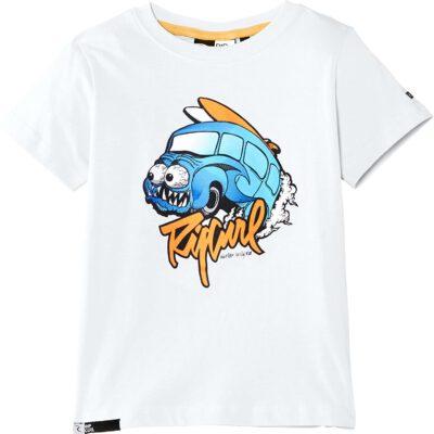 Camiseta RIP CURL manga corta niño surfera Frothed ss tee boy Optical white Ref. OTEAA4 blanca logo frontal