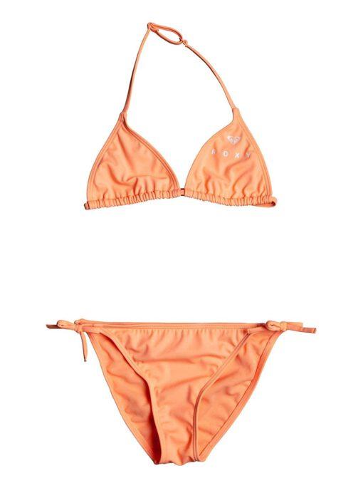 Conjunto de Bikini ROXY dos piezas niña Tiki Tri Surfing Free (MFG0) Ref. ERGX203185 naranja/coral liso