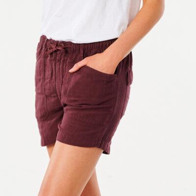 Pantalón lino RIP CURL corto práctico y cómodo para Mujer Shorts Panoma Maroon Ref. GWACB9 granate