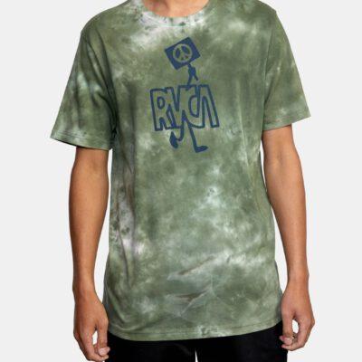Camiseta RVCA Hombre manga corta clásica PEACE OUT green Ref. W1SSRX RVP1 Verde Tie-Dye