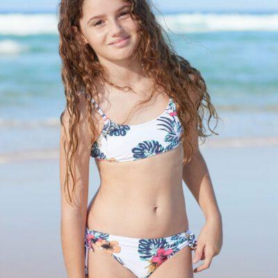 Conjunto de Bikini ROXY dos piezas niña Bralette Love Waimea BRIGHT WHITE HONOLULU S (wbb9) Ref. ERGX203271 blanco flores