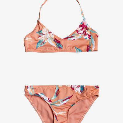 Conjunto de Bikini ROXY dos piezas niña Bralette Made For CADMIUM ORANGE PONG STRIPES (nhj3) Ref. ERGX203265 rosa flores