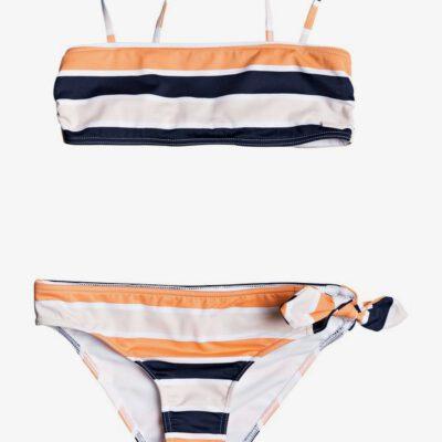 Conjunto de Bikini ROXY dos piezas niña Made For ROXY CADMIUM ORANGE PONG STRIPES S (nhj3) Ref. ERGX203266 rayas blanco