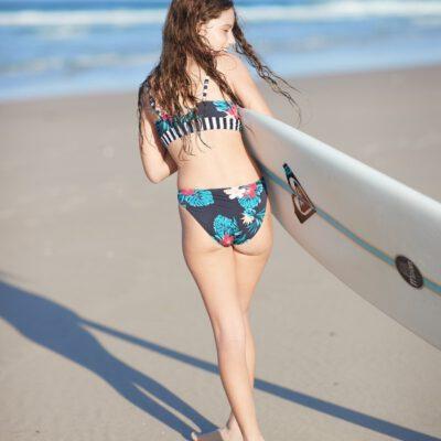 Conjunto de Bikini ROXY dos piezas niña ROXY Sunkissed ANTHRACITE BADAMI (kvj1) Ref. ERGX203287 negro floral
