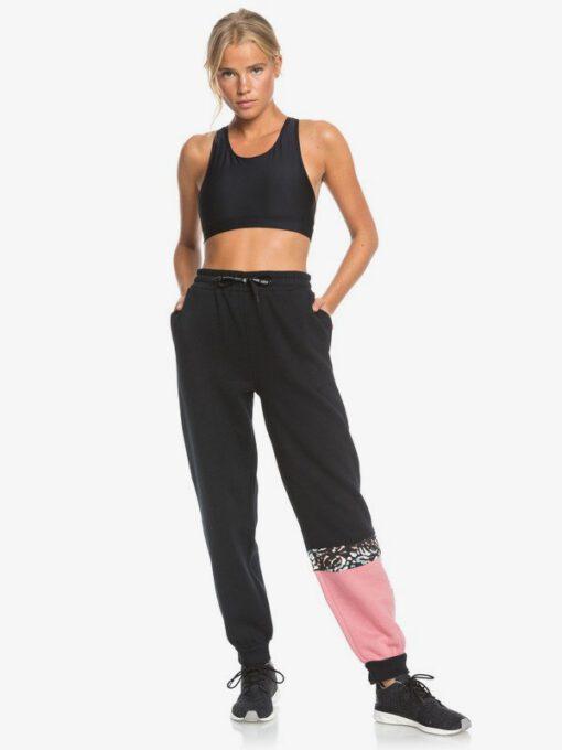 Pantalón de Chándal ROXY gym para Mujer Modern Tale ANTHRACITE (kvj0) Ref. ERJFB03267 negro detalles rosas