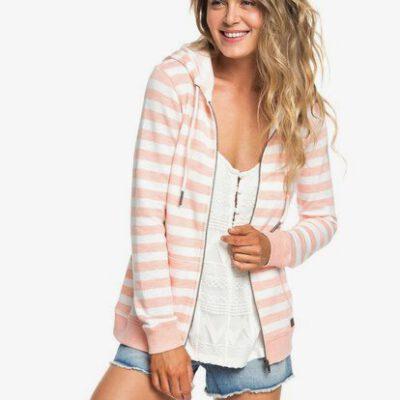 Sudadera ROXY Capucha y Cremallera para Mujer Trippin (mfgs) Ref. ERJFT03934 rosa/blanca rayas