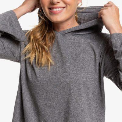 Camiseta ROXY con capucha deportiva manga larga para Mujer Behind The Sun CHARCOAL HEATHER (ktah) Ref. ERJKT03680 gris jaspeado