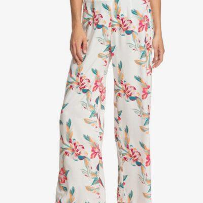 Pantalón ROXY ancho viscosa para Mujer Beside Me SNOW WHITE TROPIC CALL (wbk7) Ref. ERJNP03287 blanco flores