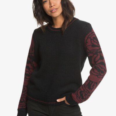 Jersey cerrado ROXY suave cuello redondo para Mujer Melrose Muse TRUE BLACK (kvj0) Ref. ERJSW03287 negro flores mangas