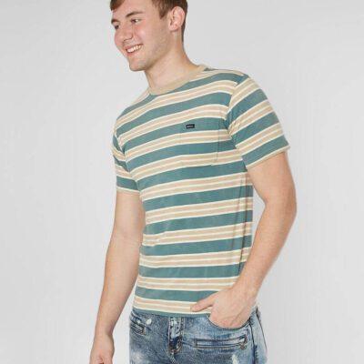 Camiseta RVCA Hombre manga corta clásica LUCAS STRIPE Ref. N1KTRKRVP9 rayas verdes/beig con bolsillo pecho