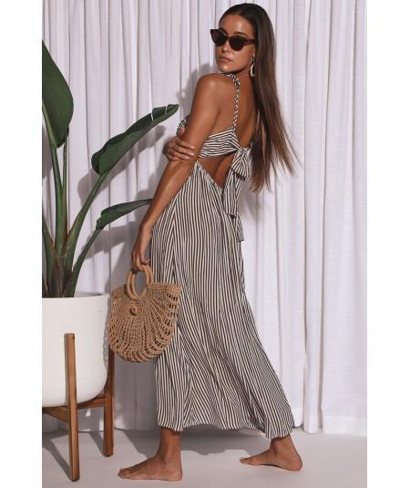 Vestido AMUSE SOCIETY largo tirantes para mujer Fern woven dress-Oce Ref. AD060FER rayas marrón